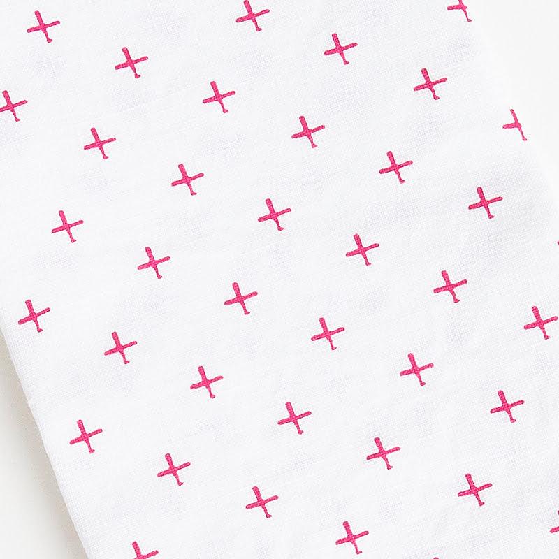 French stonewashed linen napkins swisscross pink upclose web