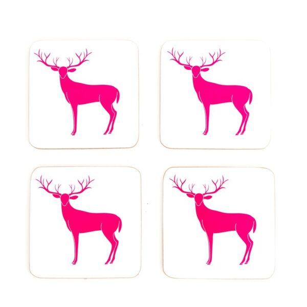 pink sassy deer cork coaster