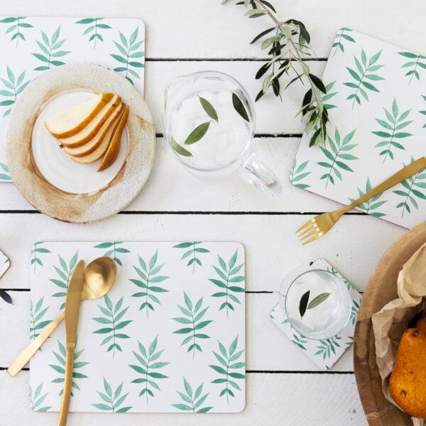 cork backed placemat coaster sets svelte palm lifestyleweb