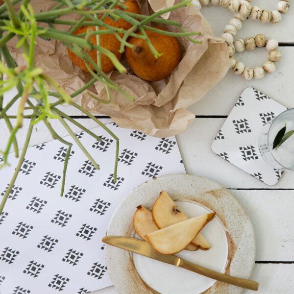 cork backed placemats coaster sets monochrome love lifestyleweb