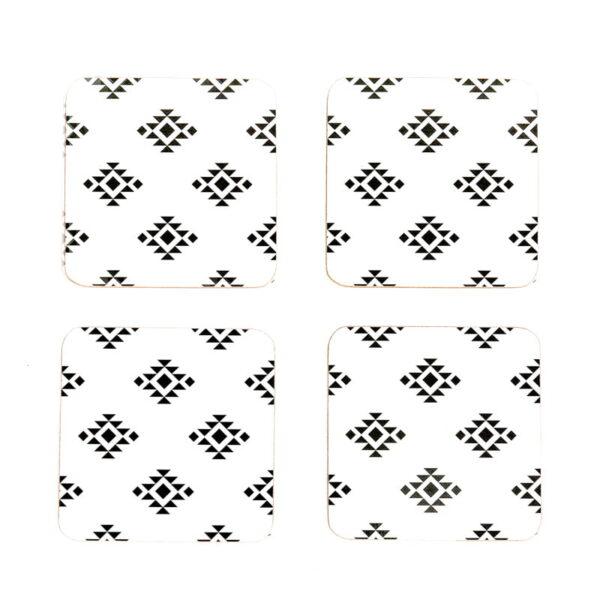 monochrome love cork coasters