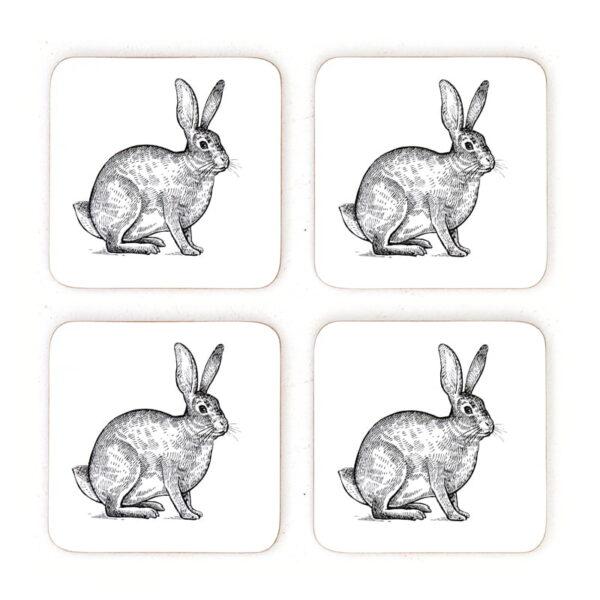 hare rabbit cork coasters