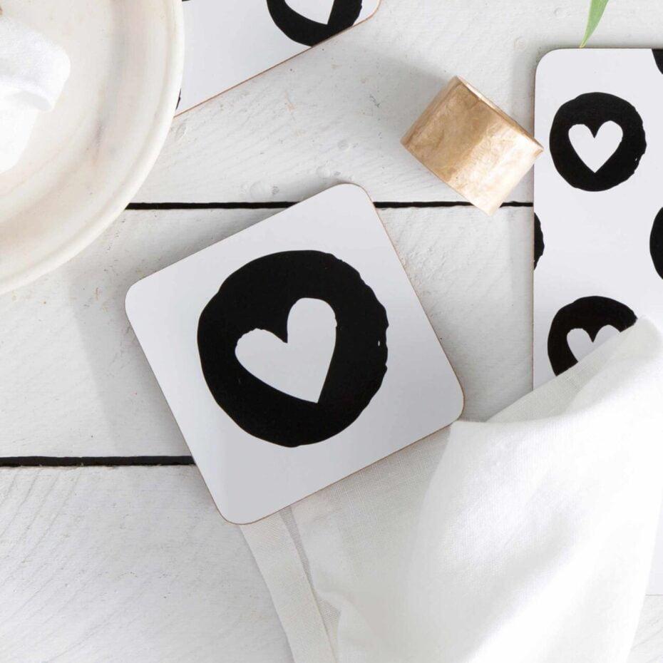 heart flutter Cork Backed coasters