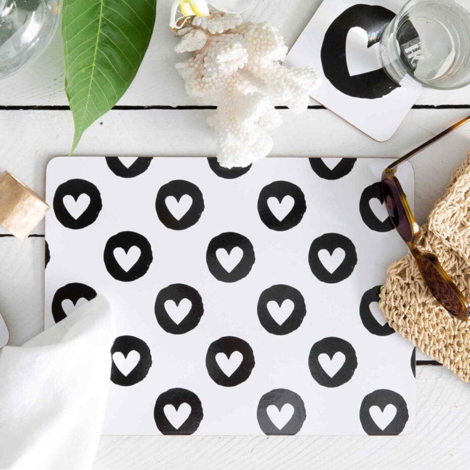 heart flutter cork backed placemats