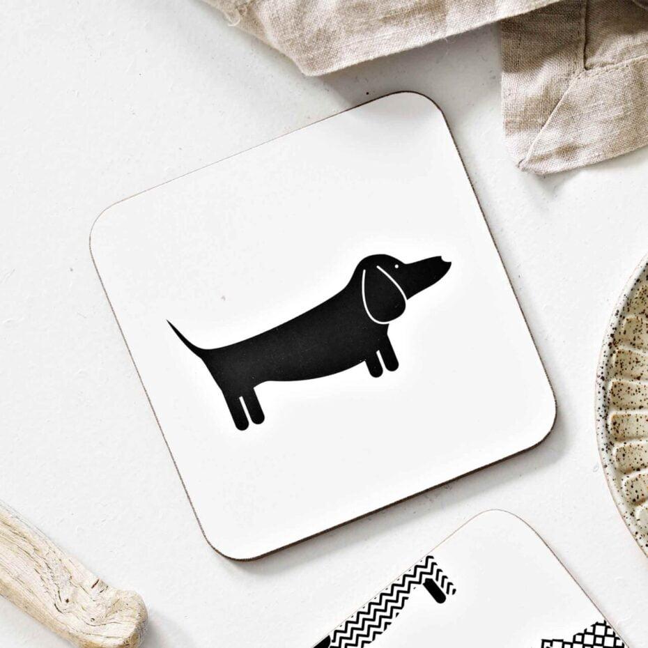 dapper dachshund dog cork backed coasters
