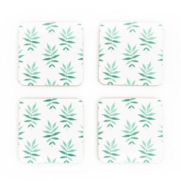 svelte palm cork green coasters 2