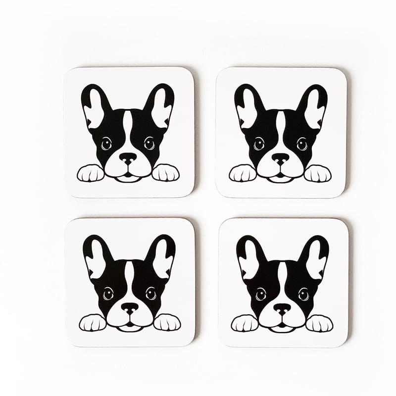 French bulldog coasters set