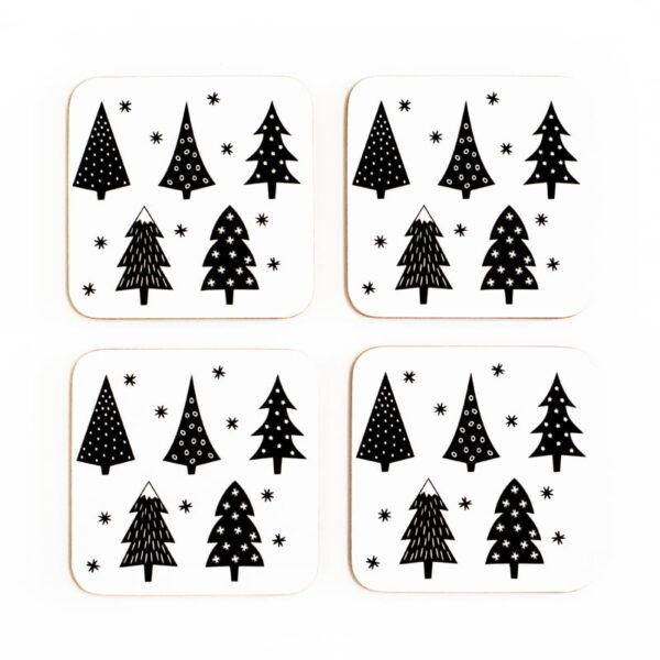 christmas trees cork coasters