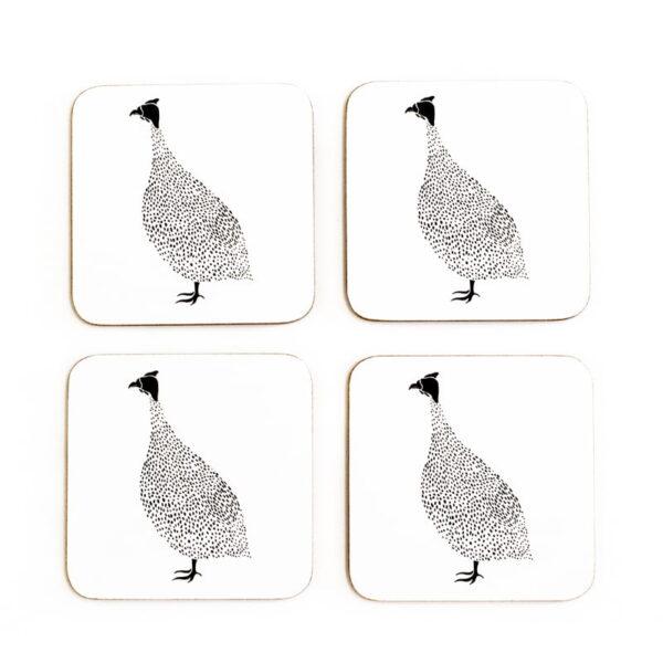 guinea fowl cork coasters