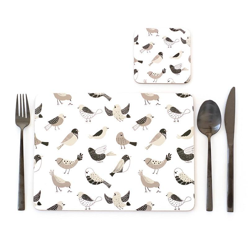 bird banter coasters placemat set web