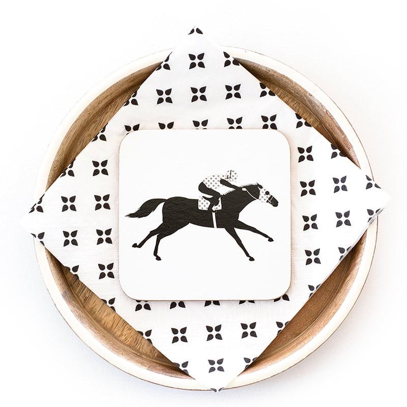 racehorse coaster napkin web