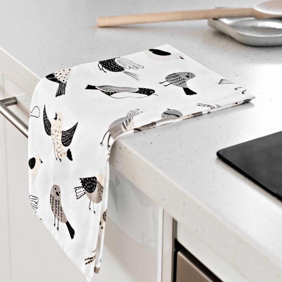 Bird Banter Linen & Cotton Blend Tea Towel - My Hygge Home