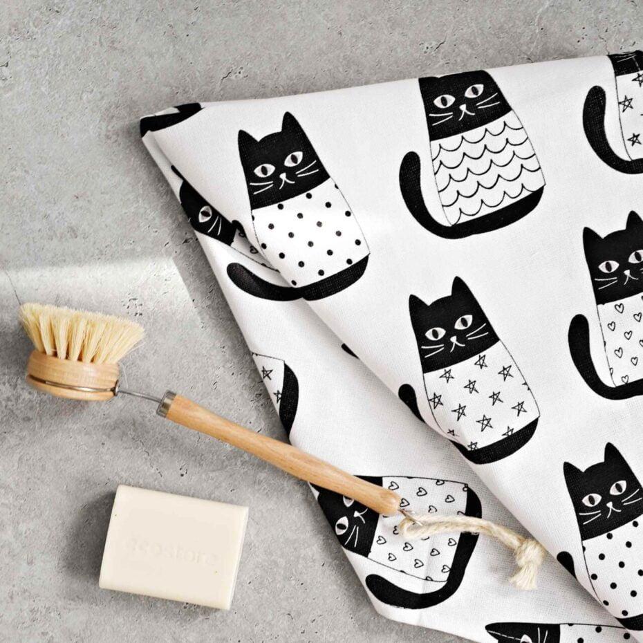 cat carnival linen tea towel