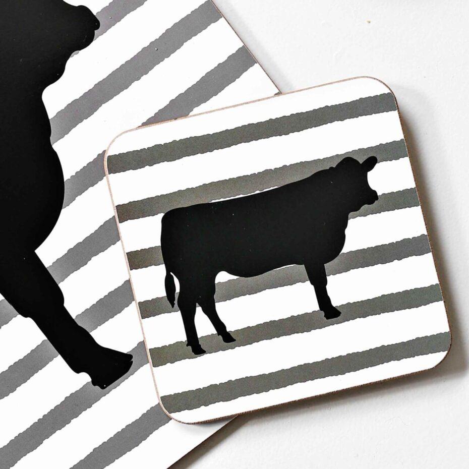 angus cow cork backed coasters